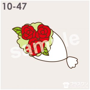 薔薇(バラ)の花束のイラスト素材